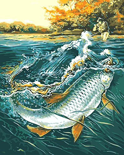 CaptainCrafts New DIY Paint by Numbers 16x20 for Adults Beginner Kit, Kids Linen Canvas - Big Fish in The River (with Frame)