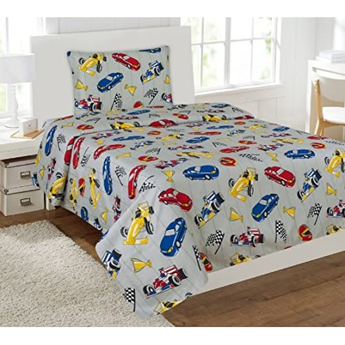 Nice Kids printed sheet set: Flat & fitted sheets with pillow cases. Choose from butterfly, Dinosaur, Shark, Princess, sports, sailor prints Twin or Full (Twin, Race Car)