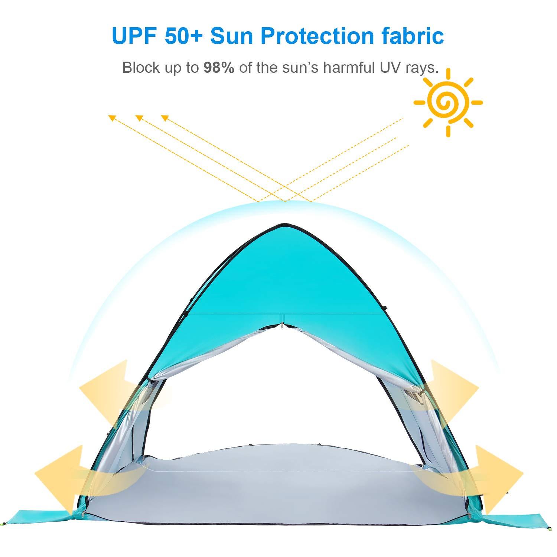 Pop Up F/ácil 3-4 Personas Carpa de Refugio de Sol Instante Carpa Sombrilla Toldo para Beb/é WolfWise Carpa de Playa UPF 50