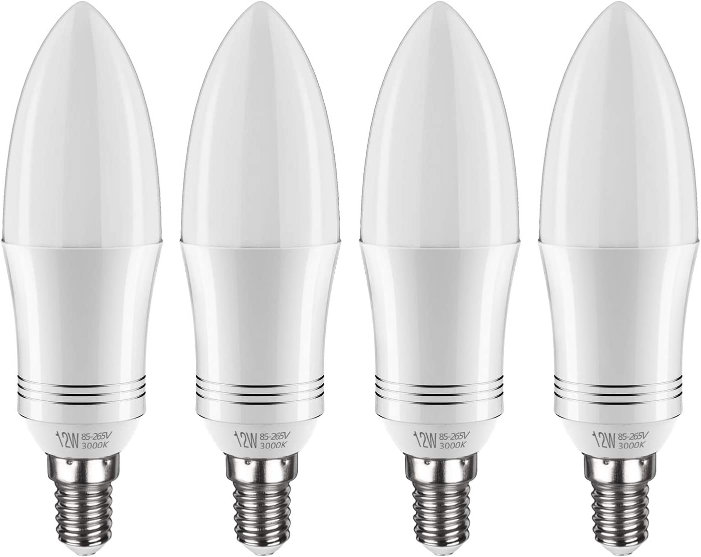 Tebio Bombilla LED E14, 12 W, equivalente a bombilla incandescente de 100 W, 3000 K blanco cálido, 1200 lm, CRI>80+, rosca Edison pequeña, no regulable, 4 unidades