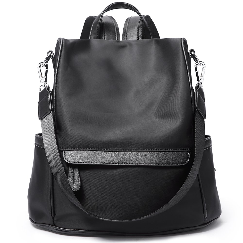 Women Backpack Purse Nylon Fashion Casual Shoulder Bag Lightweight Water Resistant School Backpack black