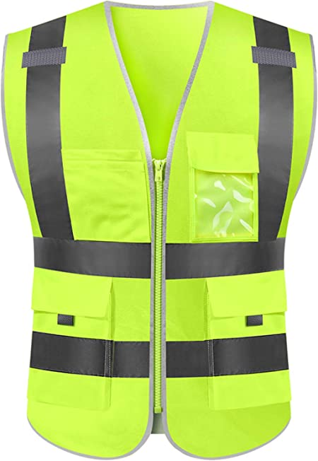 5XL Reflective Tape High Visibility Neon Orange Survey Road Work Safety Vest