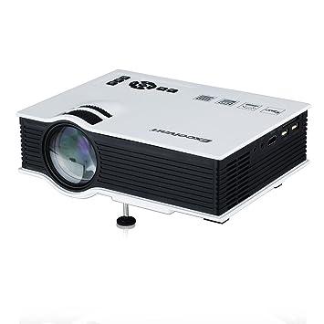 Excelvan® UC40 - Mini proyector portátil LED Home Cinema (800 lúmenes, resolución 800x480) con altavoces incorporados, Blanco