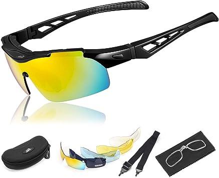 HiHiLL Gafas Ciclismo Hombre, Gafas de Sol Deportivas Polarizadas con 5 Lentes Intercambiables UV400 Protección Antivaho Antireflejo Anti Viento para Hombre y Mujer - Negro Brillante: Amazon.es: Deportes y aire libre