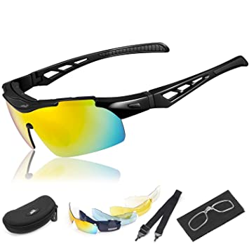 2eb876972e HiHiLL Gafas Ciclismo Hombre, Gafas de Sol Deportivas Polarizadas con 5  Lentes Intercambiables UV400 Protección Antivaho Antireflejo Anti Viento para  Hombre ...