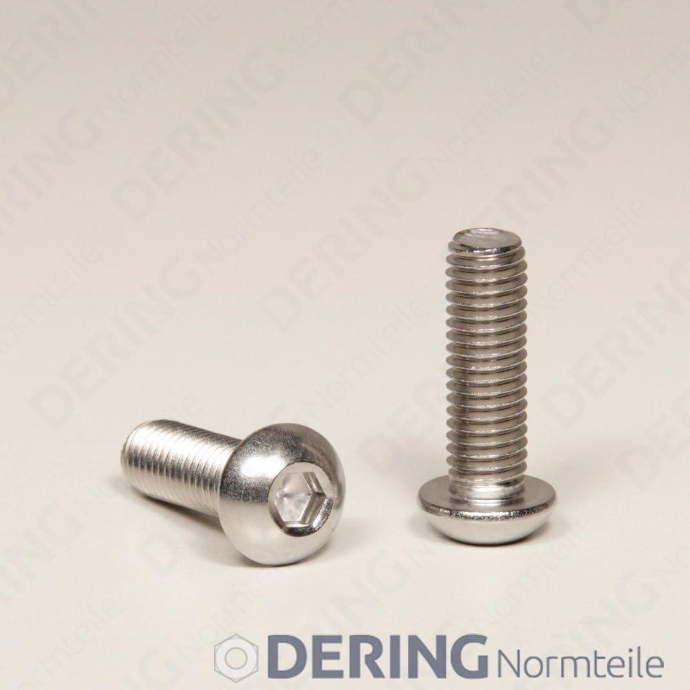 50 St/ück rostfrei DERING Linsenkopfschrauben M8 X 45//45 mit Innensechskant ISO 7380 Edelstahl A2 | Flachkopfschrauben