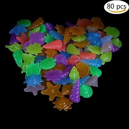 80pcs colores brilla en la oscuridad piedras Marino Animal Artificial brillante piedras piedras decorativas para Acuario
