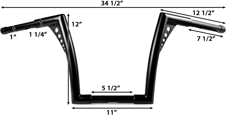 Fat 1 1//4 Ape Hanger Bar for Harley Softail Slim FLS 2012-2017 Krator 1.25 Black Handlebar with 12 Rise