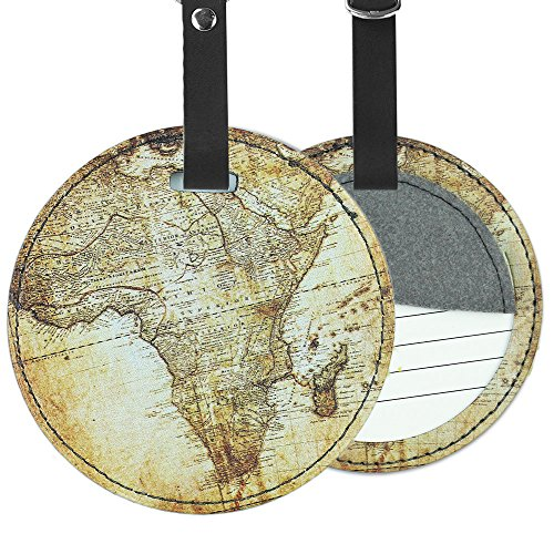 Cheliz PU Leather Round Luggage Tags Suitcase Labels Bag - Set of 2 (World Map) (Round Bag Leather Tags)