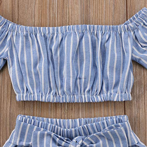 db92a405dfacd Toddler Girl Stripe Off-Shouler Tube Top + Pant Set Outfit (Blue, 1 ...