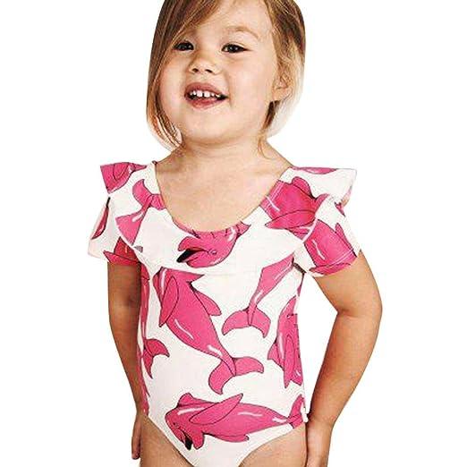 2bc91209a87 Efaster Baby Girls Swimsuit Cartoon Dolphin Print One Piece Bikini Swimwear  (0-6 Months