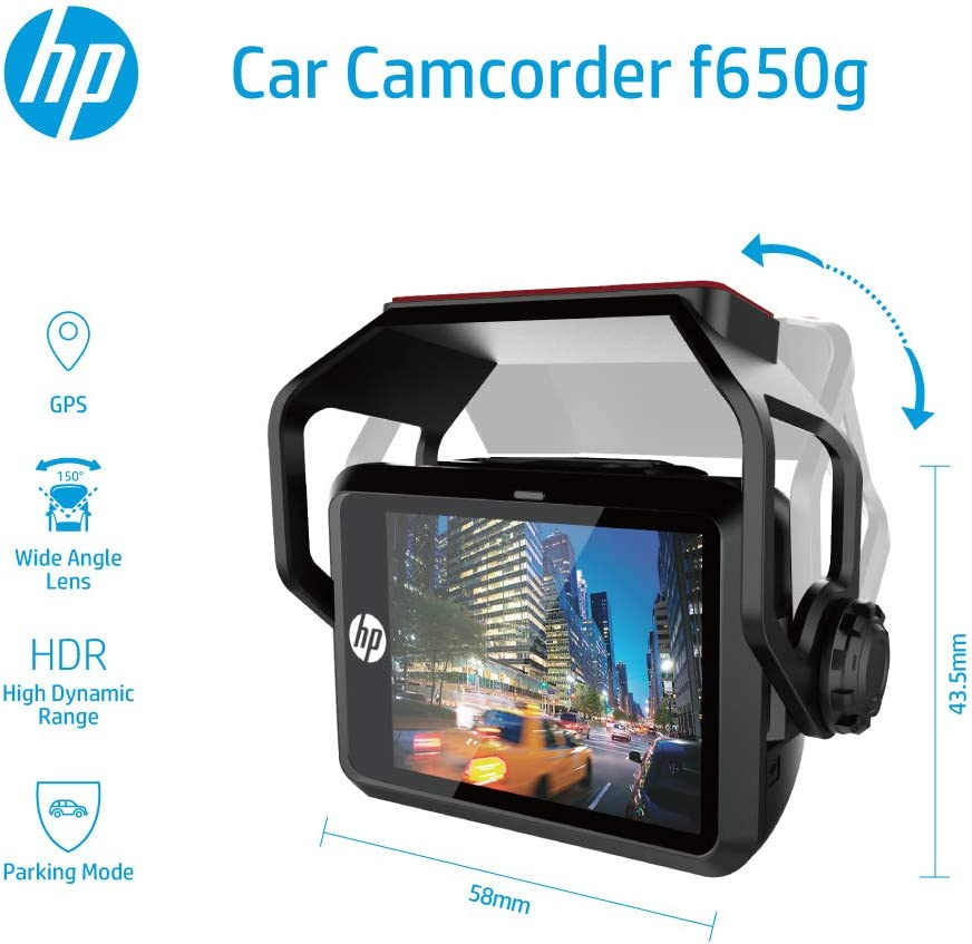 HP F650G Dash Cam Ultra-Wide Angle Lens HDR 1080P Full HD Parking Mode Loop Recording and Emergency Recording Super Night Vision with Built-in GPS