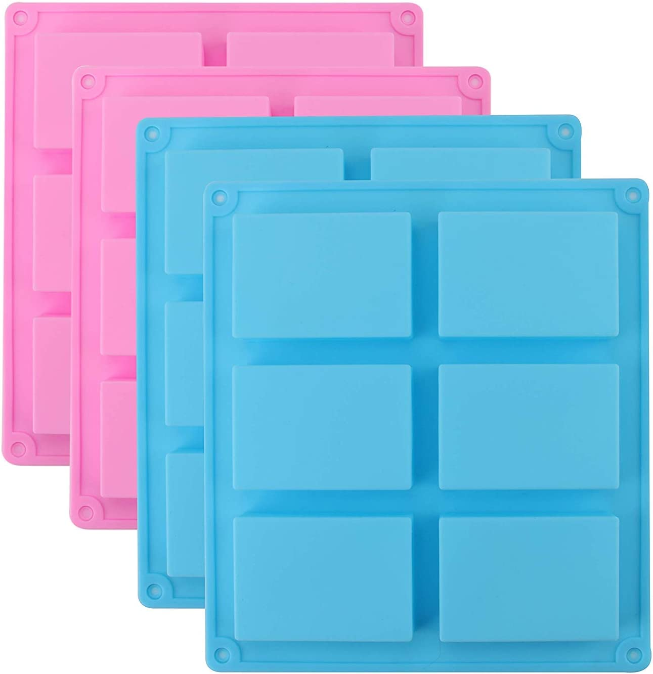 Fasmov Pack of 4 Rectangle Silicone Molds, 6-Cavity Cake Baking Pans, Homemade Craft Soap Mold, Cake Mold, Biscuit Chocolate Mold, Ice Cube Tray- Pink, Blue
