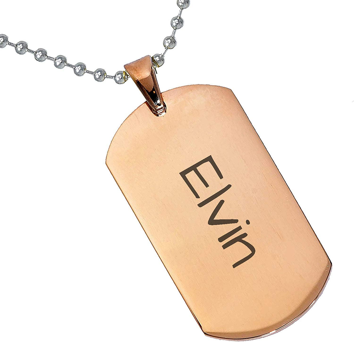 Stainless Steel Silver Gold Black Rose Gold Color Baby Name Elvin Engraved Personalized Gifts For Son Daughter Boyfriend Girlfriend Initial Customizable Pendant Necklace Dog Tags 24 Ball Chain