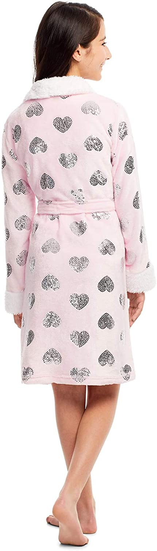 Girls Plush Sleep Robe Foil Fleece Bathrobe