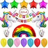 Unicorn Balloons Party Supplies Decorations - 35 Pack for Girl's Birthday Party