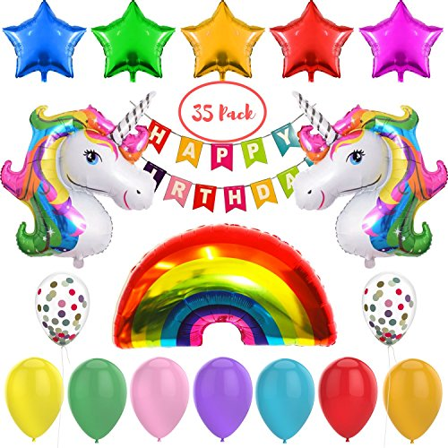 Unicorn Balloons Party Supplies Decorations - 35 Pack for Girl's Birthday Party by Kolorkettle