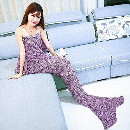 Mermaid Tail Blanket For Kids Teens Adult Handmade Mermaid Blankets Crochet Knitting Blanket All Seasons Warm Soft Sleeping Bag Best Birthday Gift (La…