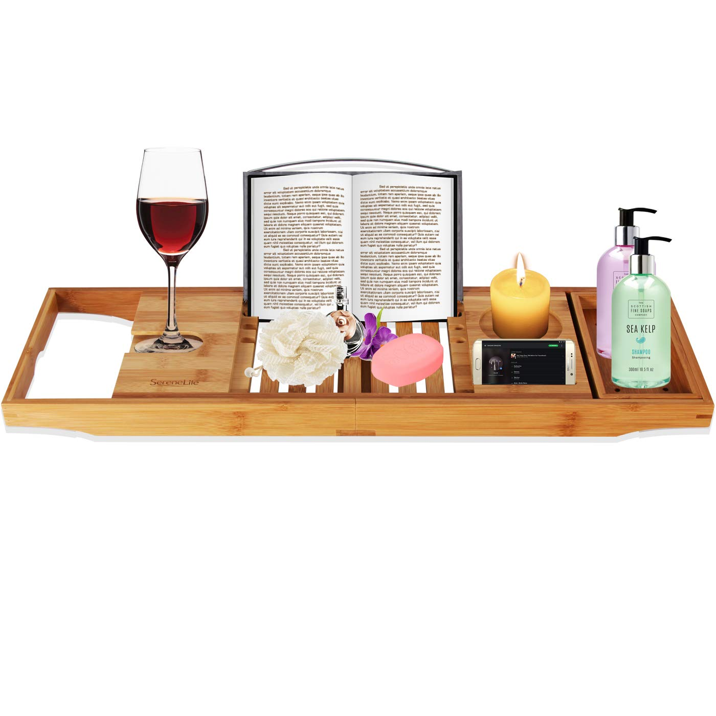Luxury Bamboo Bathtub Caddy Tray - Adjustable Natural Wood Bath Tub Organizer with Wine Holder, Cup Placement, Soap Dish, Book Space & Phone Slot for Spa, Bathroom & Shower - SereneLife SLBCAD20 Sound Around