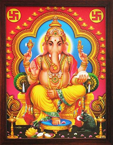 Hindu Lord Ganpati Ganesha Painting , a Auspicious Hindi God Painting for Every Home / Office and Gift Purpose