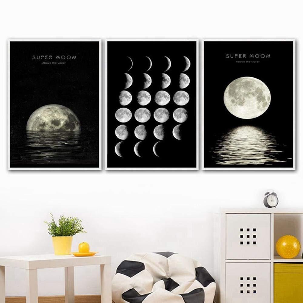 Fases de la luna cuadros en lienzo abstracto de impresi/ón moderna pintura mural para la decoraci/ón del hogar 60x80cmx3 sin marco p/óster en blanco y negro