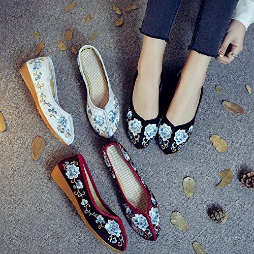 Cinese Yr37 Donna Stile Mocassini Loafers Studio Rosso Pantofola Tela Sk In Da xZvqO170