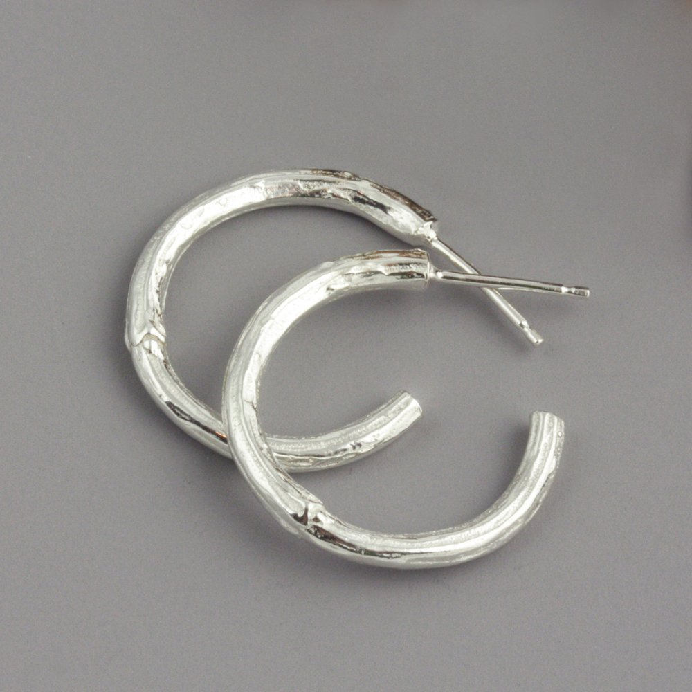 Sterling Silver Botanical Twig Hoop Earrings