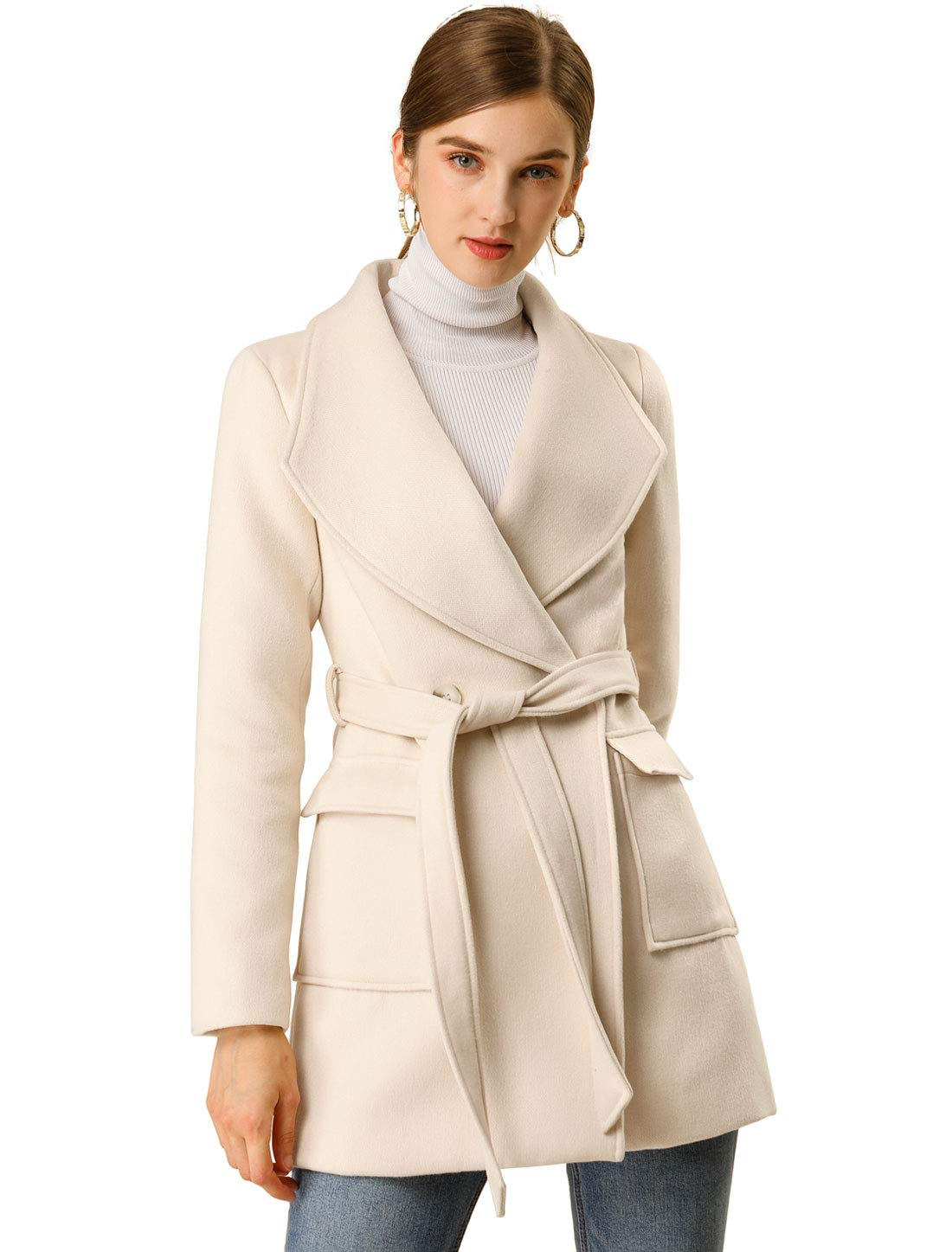 Allegra K Women's Shawl Collar Lapel Winter Belted Coat with Pockets