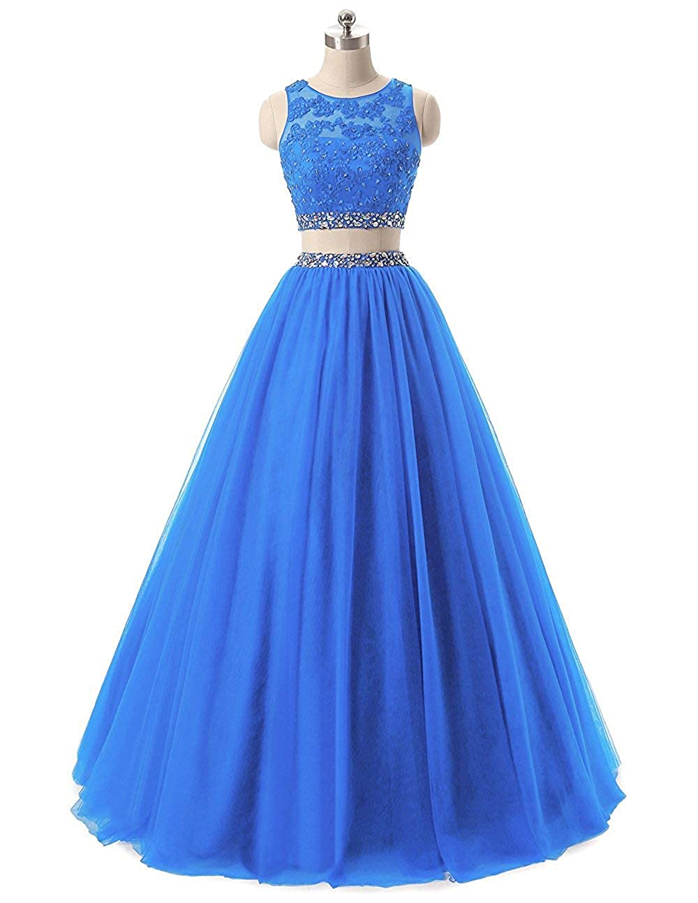 bluee Liaoye Women's 2 Pieces Prom Dress Long Lace Sequined Evening Ball Gowns Beaded Tulle Formal Party Dresses
