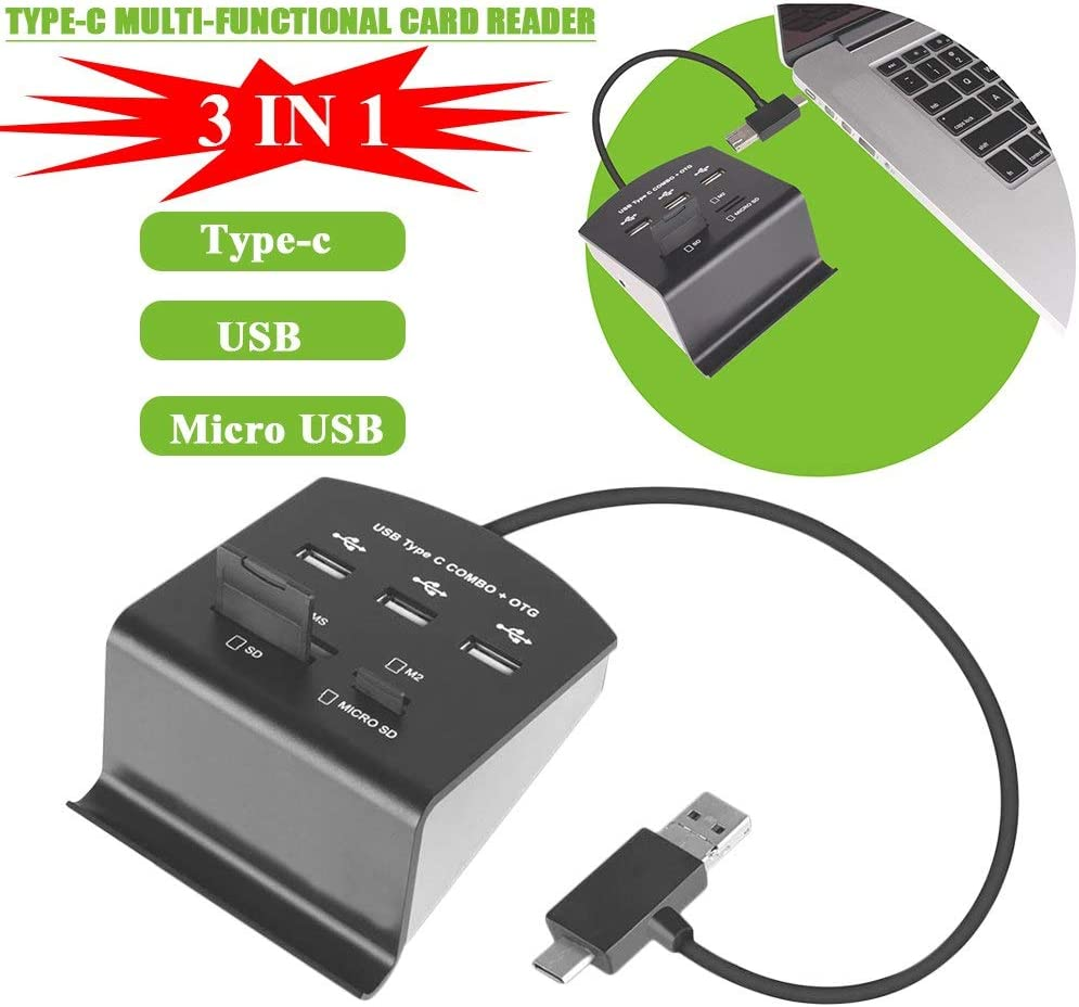 NEW Foldable Type-c//USB//MICRO USB 3-in-1 Reversible Interface HUB Reader PrinceShop Multi-Card Reader for Laptop//Mobile Phone With OTG