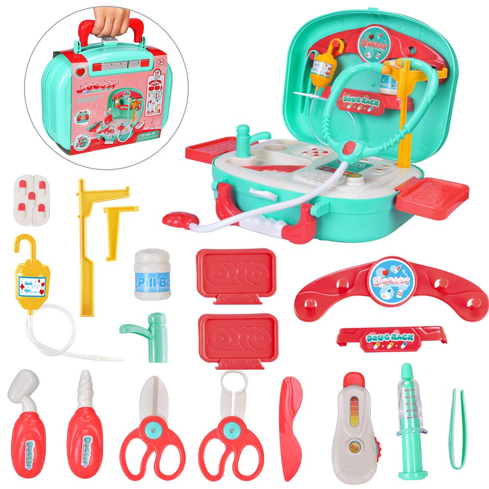 INGQU Kids Doctor Kit Pretend Play Set with Working Platform Case, Durable 19 Pieces of Heartbeat, Injecting Dentist Doctor Set for Kids Girls Boys by INGQU