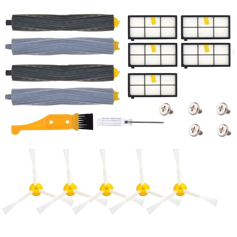 SHP-ZONE Replacement Parts for iRobot Roomba 860 880 805 860 980 960 Vacuums, with 5 Pcs Hepa Filter, 5 Pcs 3-ArmedSide Brush, 2 Set Tangle-Free Debris Rollers