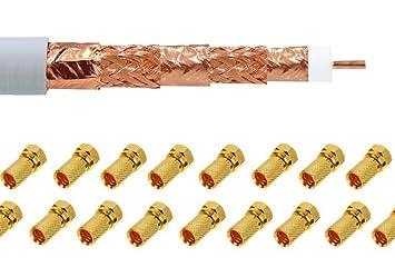 + 20 conectores F] Completo de cobre 100 m 135db Sat coaxial satélite Cable Coaxial