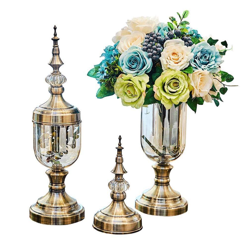 花瓶 - クリエイティブヨーロッパの花瓶、装飾的なガラスの透明なアメリカのテーブルデコレーション、ホームリビングルームのシミュレーションのフラワーアレンジメントの柔らかい装飾 B07SYL49R9