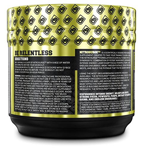 NITROSURGE Pre Workout Supplement Endless Energy, More Strength, Sharp Focus, & Intense Pumps Nitric Oxide Booster & Preworkout Energy Powder 30 Serving, Cherry Limeaide ( 9.5 oz)
