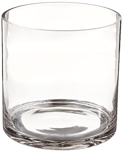 Amazon Wgv Clear Cylinder Glass Vase 6 By 6 Inch Home Kitchen