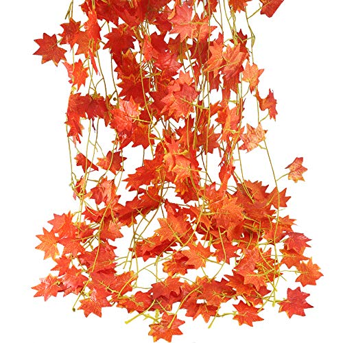 (Nahuaa 90 Feet Artificial Silk Fall Maple Leaf Garland Autumn Hanging Vine Wholesale Home Party Ceremony Wedding Table Centerpiece Decoration Set of 12)