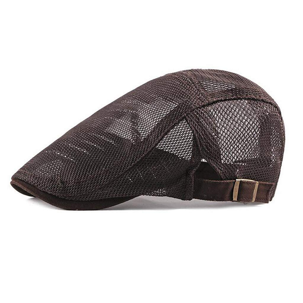 ✦◆HebeTop✦◆ Men Breathable Mesh Summer Hat Newsboy Beret Ivy Cabbie Flat Cap