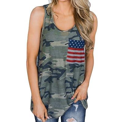 Sexyville Femme Mode Débardeur Sexy Col Rond Camouflage Impression sans Manche Vest T-Shirt Gilet