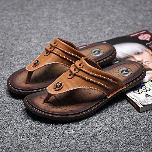 Pantofole Casual Da Uomo In Pelle Da Spiaggia Estiva In Pelle Yy16817 Giallo