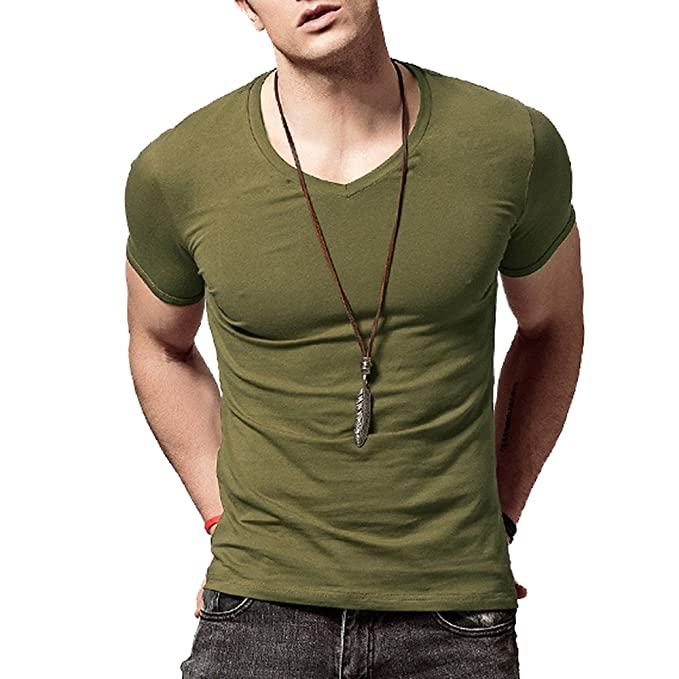 6d62b495b048 Amazon.com: XSHANG Form Fitting Mens T Shirts Soft Short Sleeves Athletic  Muscle Cotton: Clothing