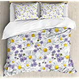 Floral Duvet Cover Set by Ambesonne, Blossoming Chamomile Wild Flower Summer Background Natural Elegant Pattern, 3 Piece Bedding Set with Pillow Shams, Queen / Full, White Yellow Purple