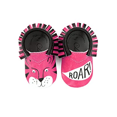 Hear Me Roar, Pink Moccasin • 100% American leather moccasins for babies & toddlers • Made in US