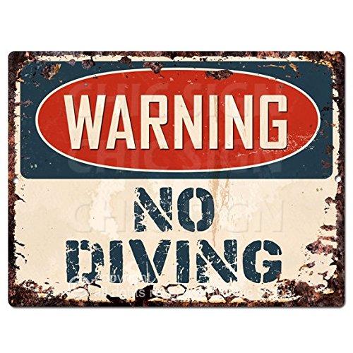 - WARNING NO DIVING Chic Sign Vintage Retro Rustic 9