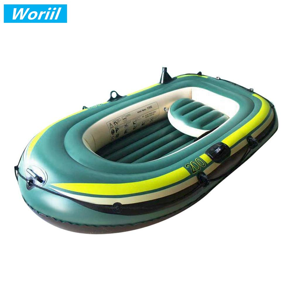 Woriil Inflatable Boat Set with Aluminum Oars and Air Pump,PVC Fishing Boat with Rod Holders, Inflatable Raft for Fishing, Cruising by Woriil