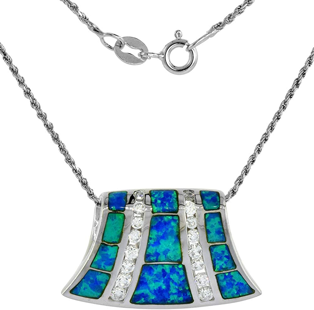 925 Sterling Silver Rhodium plated Simulated Opal Inlay Teardrop Pendant Necklace Jewelry Gifts for Women