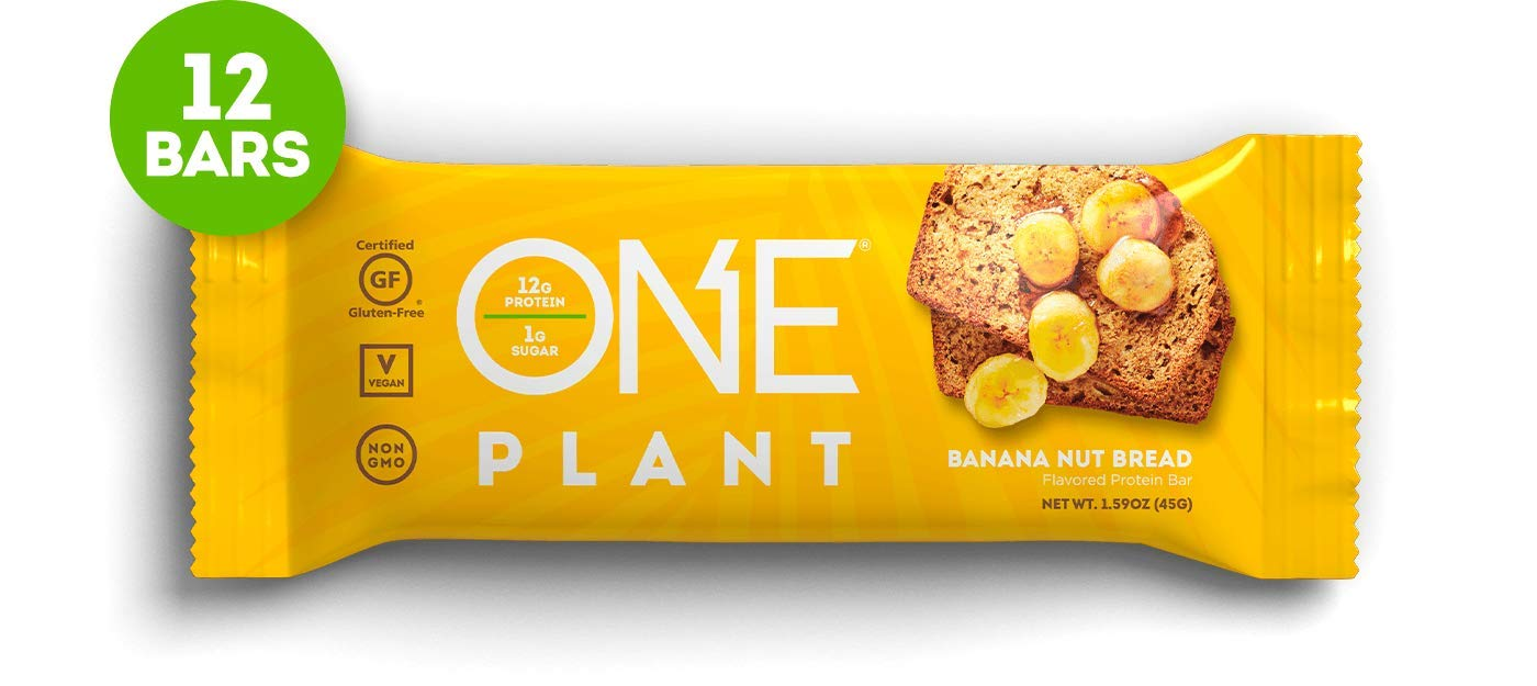 ONE Plant Protein Bars, Banana Nut Bread, Gluten Free Protein Bars With 12g protein & Only 1g sugar, Guilt-Free Snacking for High Protein Diets, 1.59 Oz (12 Pack)