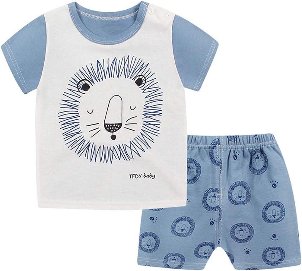 2Pcs Toddler Babys Boys Girls Summer Pajamas T-Shirt Tops Shorts Outfits Set