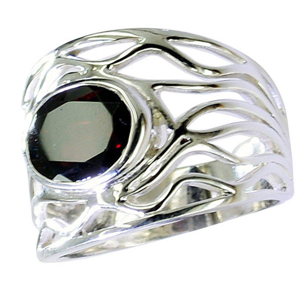 55Carat Natural Oval Birthstone Garnet Sterling Silver Ring Band Bezel Setting Size 4,5,6,7,8,9,10,11,12