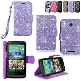HTC Desire 510 Case - Cellularvilla Pu Leather Wallet Card Flip Open Pocket Case Cover Pouch for HTC Desire 510 (Purple Glitter)
